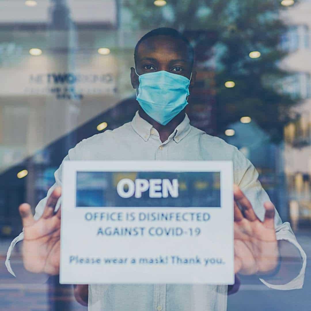 mask sign office entrance covid-19 wells-riley risk hvac indoor kw engineering (
